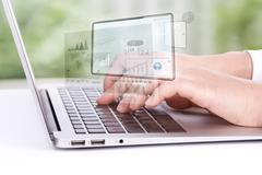 closeup of business woman hand typing on laptop keyboard - stock illustration