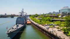 Portland Waterfront Naval Boats 576 Stock Footage