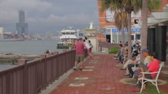 View of Kaohsiung from Cijin Island Stock Footage