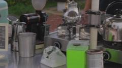 Cijin Island - outdoor mobile coffee 2nd angle Stock Footage