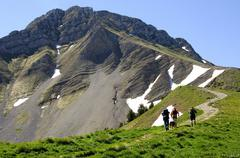 Hiking tour ascend to mt. kiaseregg (2185m) alps fribourgoises switzerland Stock Photos