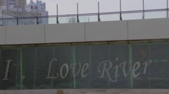 I love river sign close Stock Footage