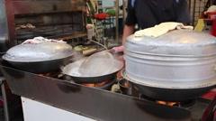 Cijin Island - Vendor cooking fresh seafood Stock Footage