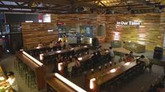 Pier 2 Art Center - trendy 2 level coffee shop Stock Footage