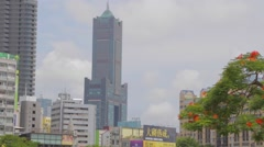 Kaohsiung 85 Building - clear day from love river Stock Footage