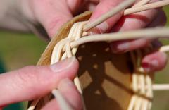 Basket weaving from rattan Stock Photos