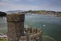 world heritage site king edward\'s castle and town walls, conwy, wales, great - stock photo