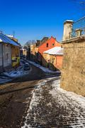 Paths diverge in old town winter Stock Photos