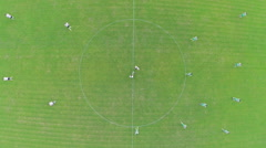 Aerial over soccer start match Stock Footage