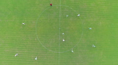 Aerial over soccer players Stock Footage