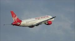 Virgin America taking off Stock Footage