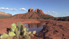 Cathedral Rock Reflection Sedona Arizona Stock Footage