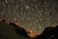 4K. Time lapse of stars behind mountains Kyajo, Pharilapche, Machhermo Glacier Stock Footage
