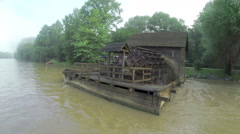 Mill on muddy river Mura in Prekmurje Stock Footage