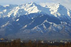 view at the tien shan mountains near almaty kazakhstan - stock photo