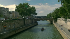 Paris Seine Boat Ile de la Cite Stock Footage