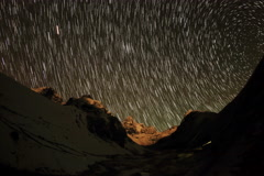 4K. Time lapse of stars behind mountains Kyajo, Pharilapche, Machhermo Glacier Stock Footage