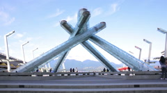 Olympic Cauldron built for 2010 winter Olympics in Vancouver Stock Footage