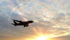 Airplane Take Off Silhouette in the sunset Stock Footage