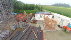 Construction site flight over Stock Footage