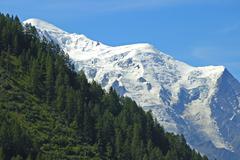 mont blanc massif, f.l.t.r. mont blanc, dome du gouter, aiguille du gouter, a - stock photo