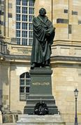 Stock Photo of frauenkirche church of our lady monument of martin luther dresden saxony germ