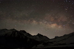 4K. Time lapse of stars behind mountain Taboche, Cholatse Stock Footage