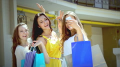 Young Graces shopping photographing themselves on the smartphone - stock footage