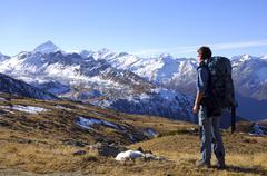 Val d\'anniviers view at matterhorn, dent blanche valais switzerland Stock Photos
