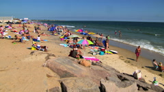 Misquamicut beach, rhode island in summertime Stock Footage