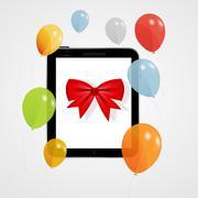 Stock Illustration of Digital tablet gift vector illustration