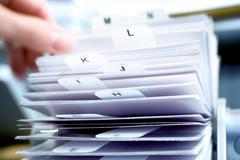 Searching for an address, address rolodex Stock Photos