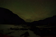4K. Time lapse of stars behind mountain Cho Oyu Stock Footage