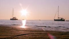 Algarve - Ria Formosa - Sunset Boat Silhouette A1 Stock Footage