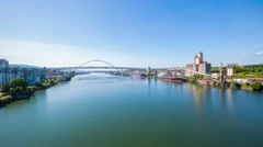 Portland Willamette River Freemont Bridge 615 Stock Footage
