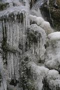 Stock Photo of iced-over stream, ice formations, hoher westerwald region, hesse, germany, eu