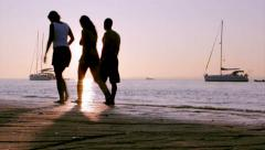 Algarve - Ria Formosa - Sunset Boat Silhouette A2 Stock Footage