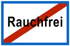 Symbolic picture, no more rauchfrei (ger. for smoke-free), anti-smoking bylaw Stock Photos