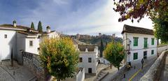 Stock Photo of el albaicin, oldest part of granada, and the alhambra in the background, gran