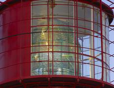 fresnel lens, light beacon in a lighthouse on the cape near lindesnes, vest-a - stock photo