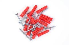 Stock Photo of screws with rawlplugs or screw anchors