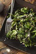 homemade healthy sauteed swiss chard - stock photo