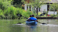 People kayaking in nature. Spreewald The German Venice. Stock Footage