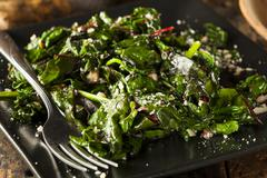Homemade healthy sauteed swiss chard Stock Photos