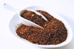 Stock Photo of rooibos tea (south african red tea) flavoured with almonds and vanilla