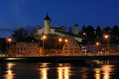 Schaffhausen - the old town and the munot castle in the dusk - switzerland, e Stock Photos