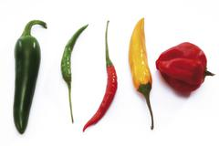 Assorted hot peppers Stock Photos