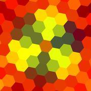 abstract hexagon pattern - orange background - stock illustration