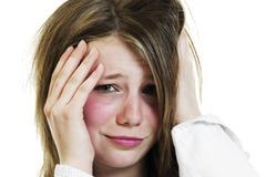 Teenage girl, overslept Stock Photos