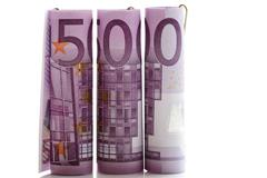500-euro bills, rolled up - stock photo